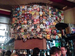 Like all good pubs the Harp proudly displays the beers that have passed through the pipes over the years.